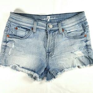 7FAM Light Wash Mid Rise Denim Shorts